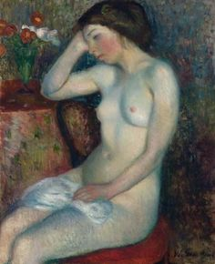 Sleeping Girl: 1912 by William James Glackens - oil on canvas (The Barnes Foundation, Philadelphia, PA) - Post Impressionism, The Eight Albert Barnes, Ashcan School, Barnes Foundation, Social Realism, Williams James, Life Drawing, American Art, American Realism, Beautiful Paintings
