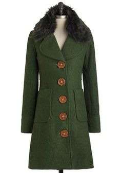 Wow, love the color and the giant buttons!!  Love You For-evergreen Coat, #ModCloth