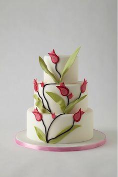 Wedding Cakes Tulip Cake - I found this great wedding vendor on The Knot! Gorgeous Cakes, Pretty Cakes, Cute Cakes, Amazing Cakes, Unique Cakes, Elegant Cakes, Creative Cakes, Fondant Cakes, Cupcake Cakes