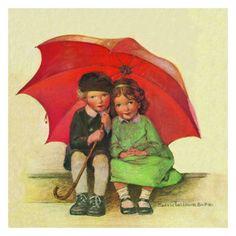 Jessie Willcox Smith Greeting Cards : The Umbrella
