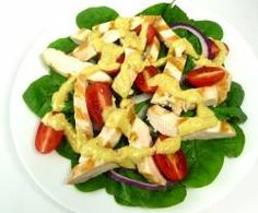 Grilled Chicken Salad with Baby Spinach and Creamy Mustard Dressing..Stevia