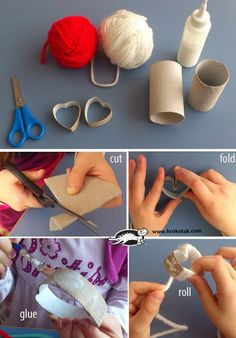 Arts And Crafts Hobbies St Patricks Day Crafts For Kids, St Patrick's Day Crafts, Mothers Day Crafts, Diy Home Crafts, Valentine Day Crafts, Valentine Decorations, Yarn Crafts, Arts And Crafts, Paper Towel Roll Crafts