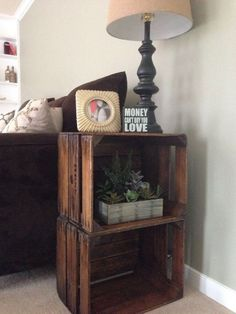 Wood crate nightstand, country style, white washed, end tables, College dorm room end tables - Wood Crates Shipping Decor, Farmhouse End Tables, Crate Nightstand, Diy End Tables, Home Decor, Crate End Tables, Wooden Crate End Table, Crate Furniture, Crate Decor