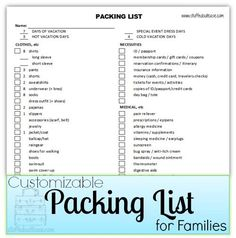 Printable Kids Packing List With Pictures  Packing Lists Pack