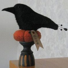 Crow pincushions | ... MAD ABOUT BLACKBIRDS!!! / Prim crow pin cushion, prim penny, ebay