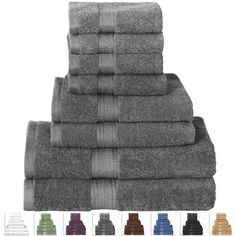 Pamper yourself with this 8-Piece Bath Towel Set in Soft Luxury 100-Percent Cotton - Grey is made from soft and durable terry cloth. Each set comes with 2 Bath