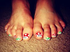 Mario Toe Nails <3 omg my kids would love it if i did this lol