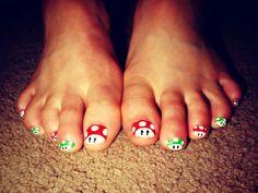 Mario Toe Nails <3