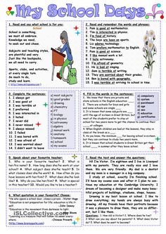 My school days worksheet - free esl printable worksheets mad English Lessons, Learn English, English File, Reading Comprehension Worksheets, English Reading, School Subjects, Classroom Language, Writing Words, Education Quotes For Teachers