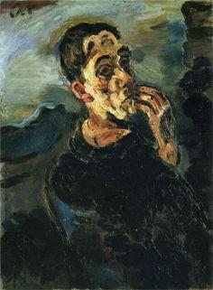 Oskar Kokoshka. Autorretrato con mano en la cara, 1917