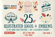 25 Illustrated logos and emblems Templates **For Adobe Photoshop and Adobe Illustrator!**I just created 25 brand new illustrated logo and emb by Guerillacraft Branding Design, Logo Design, Label Design, Print Design, Graphic Design, 1 Logo, How To Make Logo, Personal Logo, Color Shapes