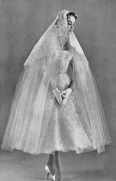 The Fifties Bride - Tea length dress, little white gloves, Stiletto heels & lace lace lace !