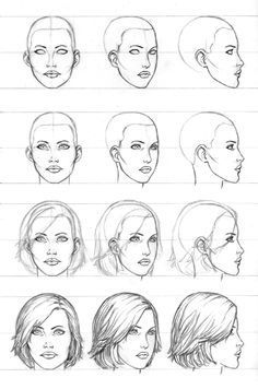 3 4 Front View Anatomy Drawing Female Face Drawing Tutorial Female Head Art Color Pencils On How To Draw The Head From Any Angles Drawing Human Female Face Drawing, Drawing Faces, Drawing Hair, Drawing Drawing, Woman Drawing, Face Profile Drawing, Side Face Drawing, Human Face Sketch, Gesture Drawing
