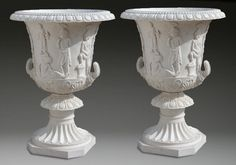 "(2) 50""h oversized carved marble planters : Lot 802"