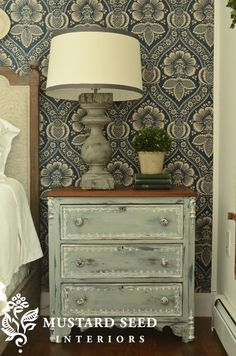 fabulous painted treatment on this nightstand by @Miss Mustard Seed