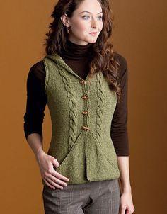 Knitting pattern for hooded Divine Vest and more vest knitting patterns
