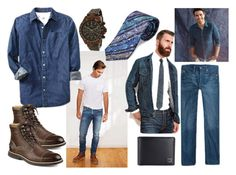 """""""Denim for Men"""" by gabriele-bernhard ❤ liked on Polyvore featuring Levi's, Old Navy, Robert Graham, Tumi, Toy Watch, menswear, MensFashion and denimshirt"""