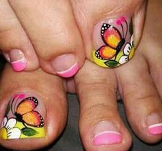 Amo esto Nails & Co, Pedicure Nails, Toe Nails, Hair And Nails, Manicure, Cute Pedicure Designs, Toenail Art Designs, Summer Toe Designs, Butterfly Nail Art