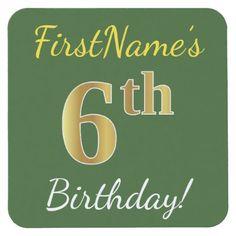 Green Faux Gold 6th Birthday  Custom Name Square Paper Coaster - birthday diy gift present custom ideas