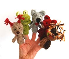 These are amazing! 5 animal finger Puppet, crocheted squirrell, frog, fox, owl and wolf, stuffed woodland forest animal, toy to play fairy tale, tiny amigurumi. $38.00, via Etsy.