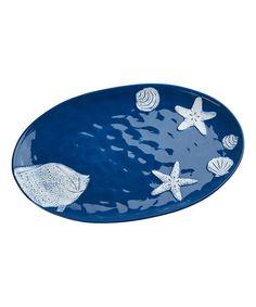 Look at this #zulilyfind! Cobalt Shoreline Oval Platter #zulilyfinds