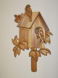Blue BirdsIntarsia hand carved gift by Rakowoods by RAKOWOODS, $120.00
