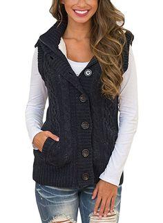9189999659 Sidefeel Women Hooded Sweater Vest Knit Cardigan Outerwear Coat X-Large  Black at Amazon Women s