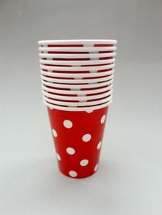 Polka Dot Party Cups - Red/White