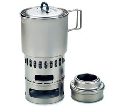 Evernew Ti Appalachian Set (All-titanium ultralight backpacking kitchen 500ml pot + multi fuel stove + pot stand + windscreen - can be used as wood-burning stove) 161g