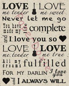 Love Me Tender Love Me Tender Print Elvis Song by PaperDoxie