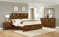 Roundhill Furniture Calais Solid Wood Construction Bedroom Set with Bed, Dresser, Mirror, Night Stand, Queen, Walnut >>> Click on the image for additional details.