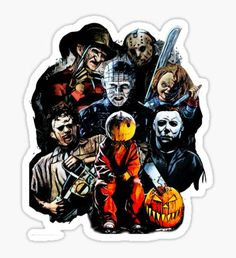 'Horror movie characters' Sticker by American Artist Horror Movie Characters, Horror Movies, Halloween Movies, Scary Movies, Funny Stickers, Printable Stickers, Bedroom Stickers, Satanic Art, Halloween Wallpaper Iphone
