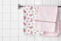 IKEA Küchentextilien, z. B. ÅGOT Geschirrtuch gemustert weiß