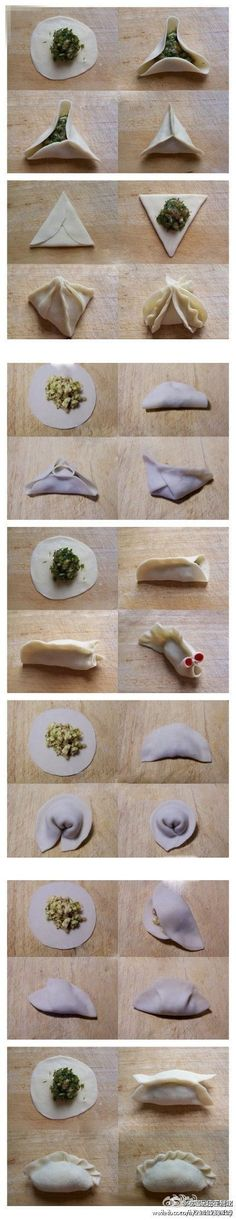 7 ways to fold a #dumpling. \\ just watch how much filling you put in. Too much and it'll burst!