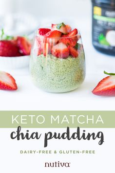 Transform a basic chia pudding recipe into something exciting with the help of energy-boosting Organic MCT Powder Matcha, strawberry and mint! Low Carb Recipes, Diet Recipes, Vegan Recipes, Snack Recipes, Brunch Recipes, Keto Pudding, Pudding Recipe, Keto Snacks, Healthy Desserts