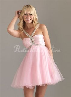 Empire Tulle and Halter Homecoming Dress - HomeComing Dresses - Special Occasion Dresses Dresses Short, Pink Prom Dresses, Grad Dresses, Dance Dresses, Cheap Dresses, Pretty Dresses, Homecoming Dresses, Beautiful Dresses, Evening Dresses