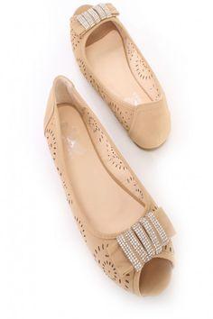 Camel Perforated Rhinestone Peep Toe Flats Faux Leather