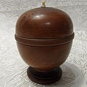 TREEN............. SELLER SAYS:  Wooden Turned Pedestal Snuff Box/Trinket Box with Carved Bone Handle. SEE THIS GREAT EXAMPLE ON RUBY LANE....