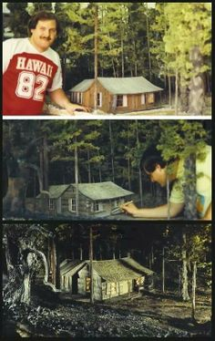 James Belohovek working on his cabin miniature used in All Horror Movies, Horror Films, Horror Art, Bruce Campbell Evil Dead, Evil Dead Series, Evil Dead 1981, Scary Terry, Slasher Movies, In And Out Movie