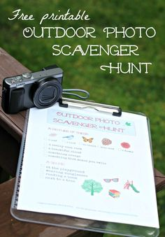Outdoor Photo Scavenger Hunt : Free printable Photo Scavenger Hunt for Kids & Teens -- learn how to use a camera with this DIY activity! Fun for parties too! Teach your kids a few photography skills with this fun & FREE Outdoor Photo Scavenger Hunt idea! Outdoor Scavenger Hunts, Photo Scavenger Hunt, Scavenger Hunt For Kids, Outdoor Activities For Kids, Fun Activities, Summer Activities For Teens, Outdoor Learning, Outdoor Games, Outdoor Fun
