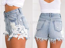 Hot Summer Sexy Ripped Pocket Shorts Women Vintage Casual Denim Lace Short Pants