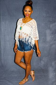 Summer Queen Crop Top - White crotchet floral lace meets intricately knitted fringe tassels creating a queen of staple summer must have pieces. Bohemian cool with a beachy flair, this cropped sheer top is a summer girl's best friend. Stylish and trendy while still being comfy for frolicking around town. Plus it showcases an amazing summer tan! Wear with denim cutoffs for a simple and fun look.  - available online at http://www.envyboutique.us/shop/summer-queen-crop-top/