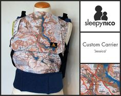 'Jessica' is a custom made Sleepy Nico cut from splash maps. Practical and beautiful, combining two passions, babywearing and walking.