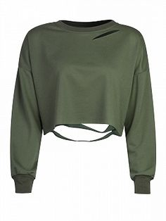 Shop Military Green Ripped Drop Shoulder Cropped Sweatshirt from choies.com .Free shipping Worldwide.$13.9