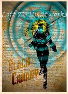 Black Canary, Dark superhero art, pop art print, Retro Super Hero Art, Dictionary print art