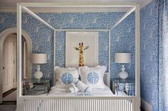 Tracy Glesby Real Estate Tracy Glesby Loving the wallpaper in this blue little girls room. Plus the Leontine linens. via Tracy Glesby Home Bedroom, Girls Bedroom, Bedroom Decor, 1950s Bedroom, Master Bedroom, Blue Rooms, White Rooms, Monogram Bedding, Leontine Linens