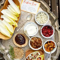 This is a party all on one plate! A DIY endive bar is a fresh take on lettuce wraps. Pile it all on one tray and keep the platter passing. Download the party kit and get the watercolor sign. Invite List: 4-6 Guest Type: Anyone