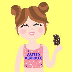 Ilustración colorida de chica con helado de chocolate, miam! by Astrid Verdoux #Summer #icecream #pink #yellow #blue #happy #smile #hi
