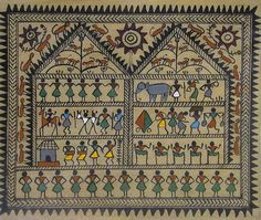 Warli Tribal Life - Work and Dance (Warli Painting from Maharashtra on Tussar Silk - Unframed))