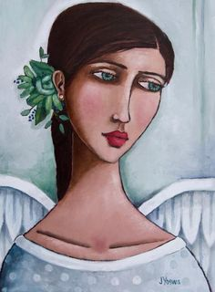 Angel Daydreaming by Jennifer Yoswa Abstract Canvas Art, Abstract Portrait, Portrait Art, Woman Painting, Painting & Drawing, Scrapbooking Image, Angel Artwork, Cute Kawaii Drawings, Naive Art